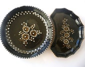 Set of Two Vintage Porcelain Plates /// Black with White Flowers /// Hand Painted