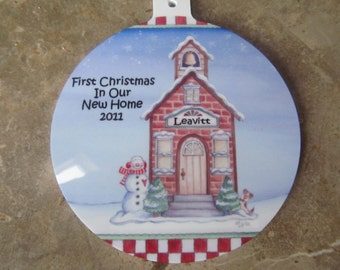 Personalized First Christmas In Our New Home Ornament customized with name and date of your choice.