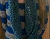 Blue & Turquoise Cowl/infinity scarf/muffler