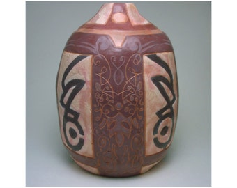 Burgundy, White, and Black Hand Built Vase with Tribal Designs and Scroll Work, Decorative Pottery