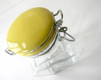 vintage mini yellow glass container/jar