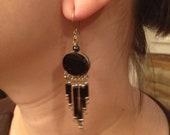 Onyx Black & Silver Dangle Earrings