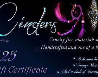 Gift Certificate for Cinders Jewelry Design  - 25 dollars
