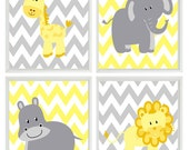 Yellow Gray Nursery - Chevron Elephant Giraffe Hippo Lion Safari Wall Art Print Set   - Children Kid Room Home Decor Wall Art