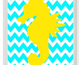 Seahorse Beach Nautical Sea Creature Chevron Art Print - Nursery Children Room Aqua Yellow - Wall Art Home Decor   Print