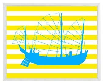 Pirate Ship Art Print - Nautical Nursery Boy Room Blue Yellow Stripes Wall Art Home Decor