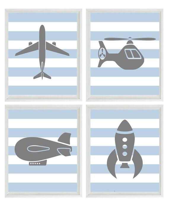 Flying Art Print Set - Boy Nursery Airplane Helicopter Rocket Blimp - Gray Blue Stripes Wall Art Home Decor    Prints