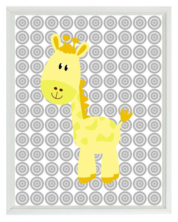 gelb grau kinderzimmer giraffe safari wand kunstdruck kinder. Black Bedroom Furniture Sets. Home Design Ideas