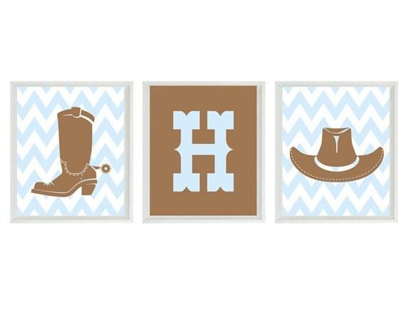 Cowboy Nursery Art Print Set - Chevron Western Hat Boots Initial Personalize - Light Blue Brown Wall Art Boy Room Home Decor Set