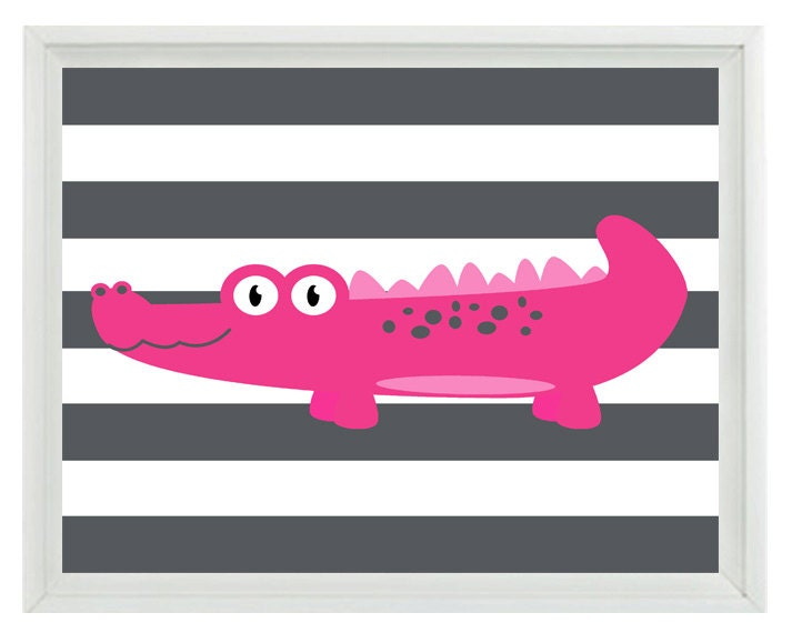 Wall Decor With Stripes : Alligator nursery wall art print gray hot pink decor stripes