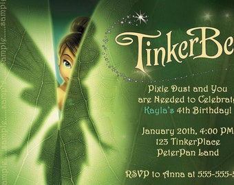 Tinkerbell Invitation---Birthday Party--Customize--DIGITAL or PRINT