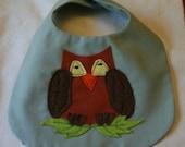 Baby Bib with  Appliqued Owl  Sage Green & Brown Owl Bib  Toddler Drool Bib