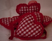 handmade loveheart garland with red gingham detail