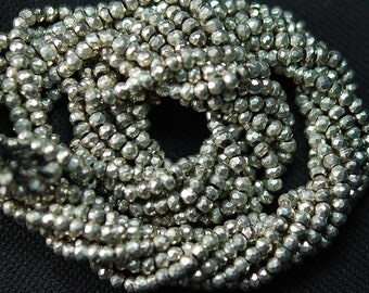 Silver Pyrite, 5x13 Inches Super Finest AAA Quality Silver Pyrite Faceted Rondelles 3.5mm