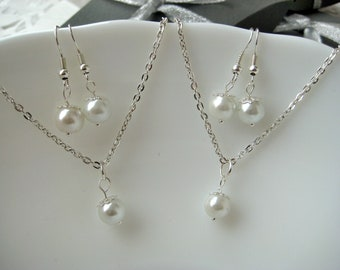 One Set  Bridesmaid Jewelry , White Pearl Necklace and Earring Sets, Bridesmaid Gift Set, Pearl Bridesmaid Sets