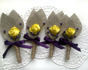Set of 9- Yellow Flower burlap Boutonniere (buttonhole)-Yellow &Plum Purple