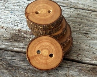 Wood Buttons-6  handmade Olive  tree branch buttons with the bark-1  inch diameter.For knitting,crochet,purses,wallet,