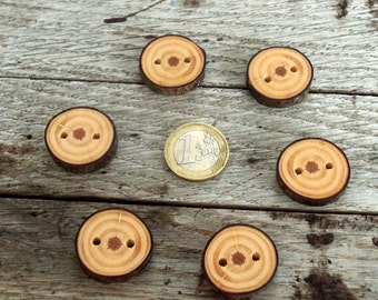 Wood Buttons-6 Handmade red Pine tree branch buttons-4/5inches diameter.For purses,handbags,pillows,knitting products,crochet products