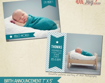 INSTANT DOWNLOAD - Birth announcement card photoshop template 7x5 - BA100