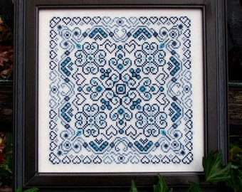 Blue Romance! Counted Cross Stitch Chart. Romantic Design. Blues. Ornamental. Mandala. Geometric. Decor. X Stitch. DIY. Direct Checkout.