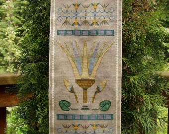 Lotus! Counted Cross Stitch Chart. Ancient Egyptian Design. Symbol of Rebirth.  X Stitch. Band Sampler. Decor. DIY. Direct Checkout.