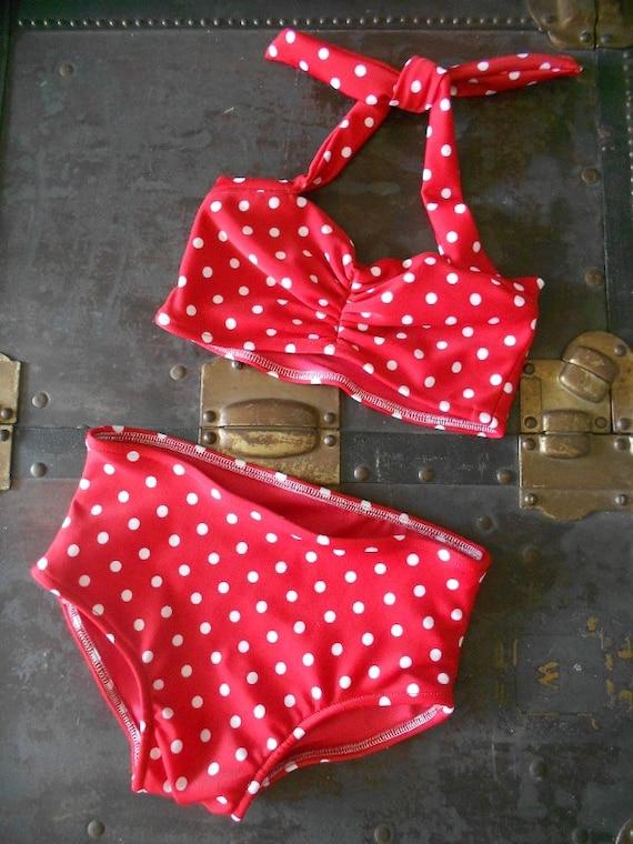 Red and white polka dot Girls retro swimsuit bikini two piece made to order sizes 2-12