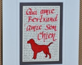"""French Proverb """"Love my dog"""" matted acrylic and ink on vintage book page"""