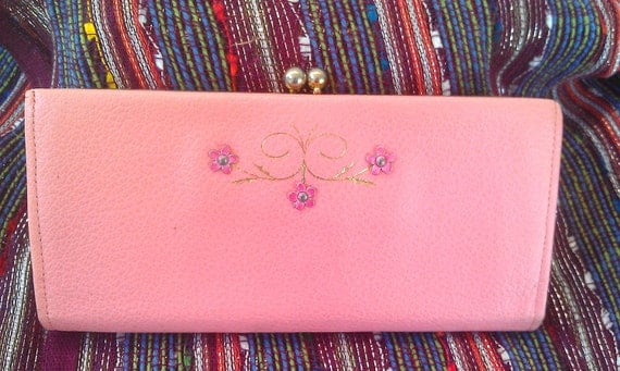 Vintage Leather Wallet -Buxton Pink Leather Wallet Checkbook Holder- Galaxy Cowhide Change Purse