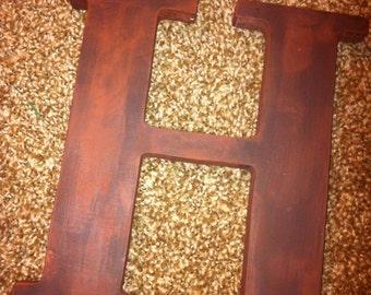Dark Brown Distressed Wooden Letter