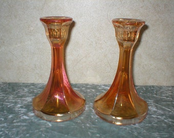 1940's Carnival Glass Candle Holder Set