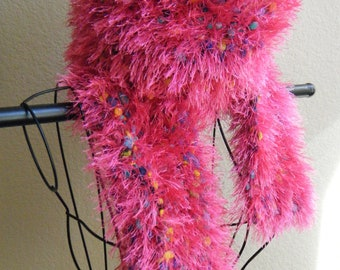 Hot Pink Knit Fuzzy Scarf for Teens or Women
