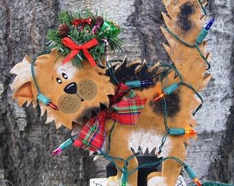 Tangled in the Christmas Lights Dog - Wood Christmas Decoration