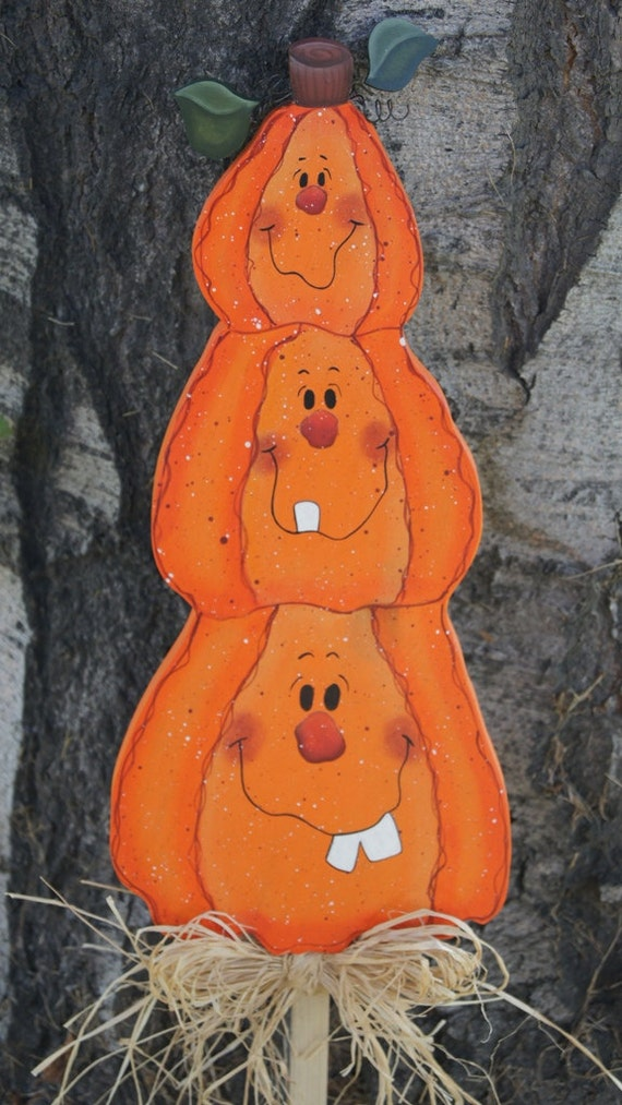 Thanksgiving Yard Decorations Wood : Halloween pumpkin trio yard stick wood decoration