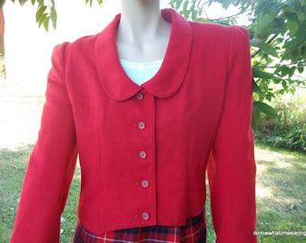 Vintage Classic Red Wool Jacket Peter Pan Collar