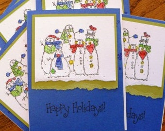 handmade artisanal ... CHRISTMAS HOLIDAY CARDS drk blue grp  Xmas scrapbooking destash of 6 with envelopes ...