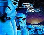 Poster Star Wars Storm Troopers Star Ship Troopers Poster Parody Digital Painting Unframed 3.5 by 5.5 card