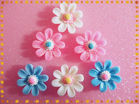 12pcs Mixed 3 colors Daisy resin cabochon jewelry accessories 20mm