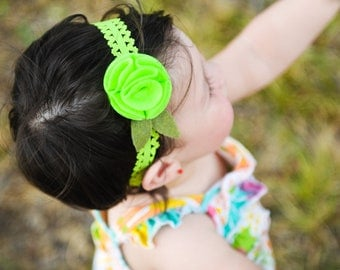 Infant Lace Headband.Baby Headbands.Baby Girl Headbands.Baby Lace Headbands.Baby Hairbows.Baby Bows.Felt Flower Headband.Eco Friendly Felt