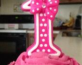 3 inch tall Polka dot birthday candle with polka dot bow