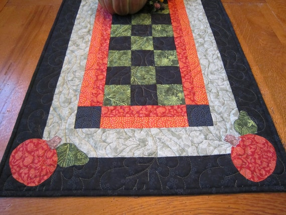 Checkerboard and Pumpkins Table Runner - SHIPS FREE