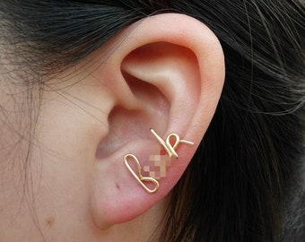 Gold Wire F&%k Earring Cartilage earring - Ear cuff - Cartilage Stud -Word stud - MATURE LISTING unusual earring