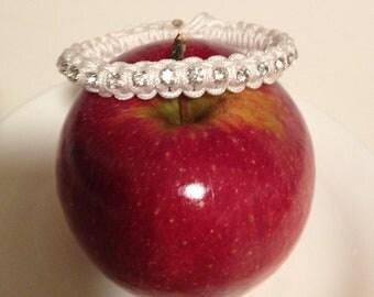Women Rhinestone Bracelet-White Crystal
