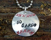 """Stamped Baseball Pendant with 24"""" ball chain"""