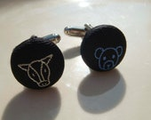 "Black Silk ""Bull & Bear"" Unisex Cufflinks"