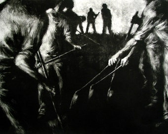 "Haunting Figure Print Black Landscape Dark Creepy Spooky Hand Pulled Fine Art Monotype ""Path"""