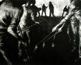 "Haunting Figure Monotype Print, ""Path"""