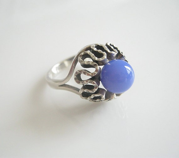 Vintage Silver Ring Blue Stone, Vintage Ring Jewelry