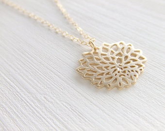 Chrysanthemum Jewelry Necklace,16K Gold Plated Brass, Gold Filled Chain, Gift for Her, Birthday Gift