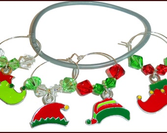 Christmas Wine Charms, Elf Wine Charms, Holiday Wine Charms, Christmas Gifts, Holiday Gifts, Christmas Glass Markers, Glass Tags, Hostess