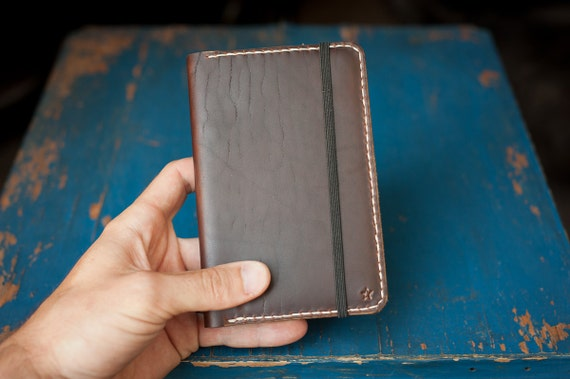 """Hand Stitched Moleskine """"Classic Pocket"""" 3.5"""" x 5.5"""" hardcover notebook & leather cover"""